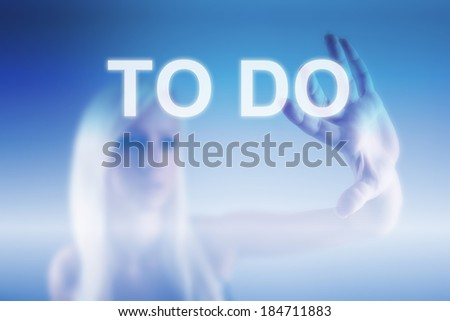 To Do Business Concept with woman and screen - stock photo