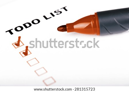 To Do list with check marks isolated on white -  todo, checklist, time management - stock photo
