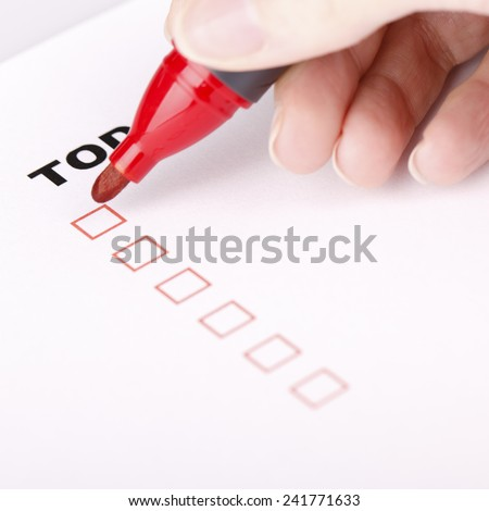To Do list with check marks isolated on white with woman hand, Todo or to-do list. - stock photo