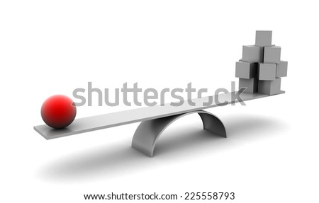 To have big weight don't need be big and many. Symbolise leadership, teamwork. Isolated on white. - stock photo
