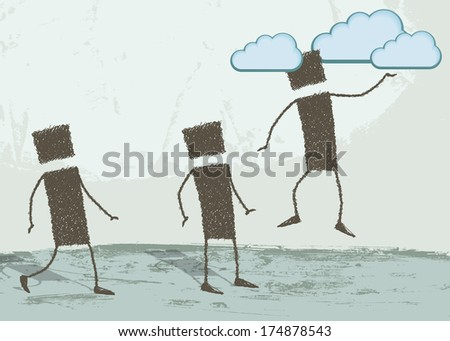 To have one's head in the clouds. A person is floating in the air, his head in the clouds. Two people are looking from the ground. - stock photo