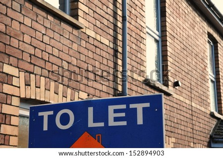 To Let Sign outside a London Town House - stock photo