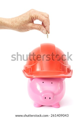 To Safe to Deposit - Piggy Bank on White Background - stock photo