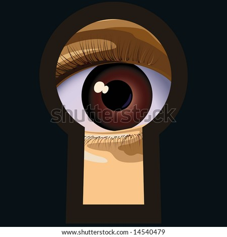 To spy  in a keyhole. a vector. illustration. - stock photo