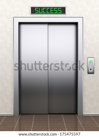 To success concept. Modern elevator with closed doors extreme closeup - stock photo