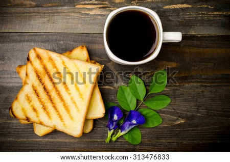 Toast and coffee in the morning,breakfast or meal - stock photo