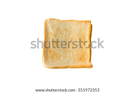 Toast bread isolated on white background, Top view - stock photo