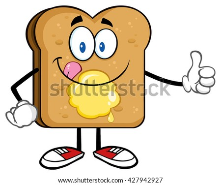 Toast Bread Slice Cartoon Character Licking His Lips With Giving A Thumb Up. Raster Illustration Isolated On White Background - stock photo