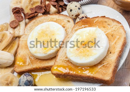 toast egg - stock photo