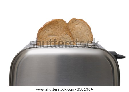 Toast popping out of a stainless steel toaster isolated on white background - stock photo