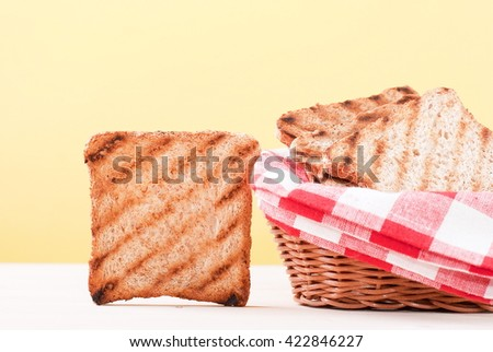 toast with a crust on the table - stock photo