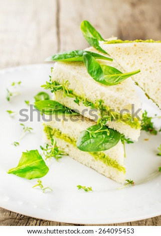 Toast with avocado paste and watercress,fresh spinach leaves on a white plate and wooden light background. . Selective soft focus - stock photo
