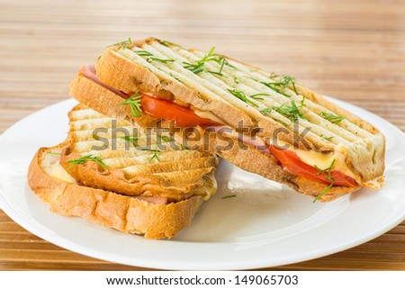 toast with cheese and tomatoes on a plate - stock photo
