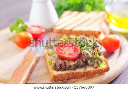 toast with mushroom - stock photo