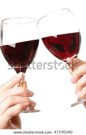 Toast with red wine - stock photo