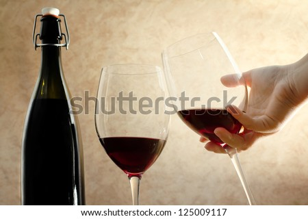 toast with red wine glasses - stock photo