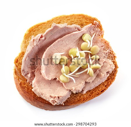 toasted bread slice with meat pate isolated on white background, top view - stock photo