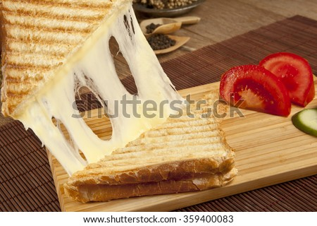 toasted cheddar cheese sandwich turkish toast - stock photo