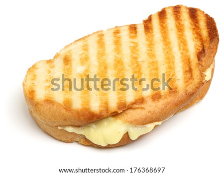 Toasted cheese sandwich on white background. - stock photo