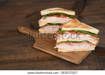toasted chicken club sandwich - stock photo