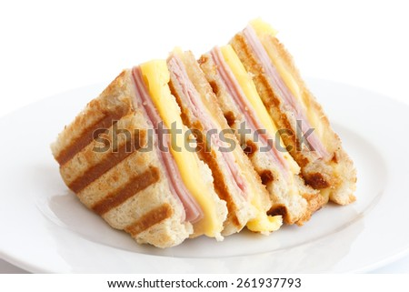 Toasted ham and cheese panini sandwich. - stock photo