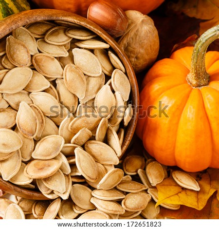 Toasted, salted pumpkin seeds spilling from a wooden bowl, accented with nuts and a small pumpkin - stock photo