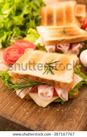 Toasted sandwich with bacon, cheese, tomato and lettuce - stock photo