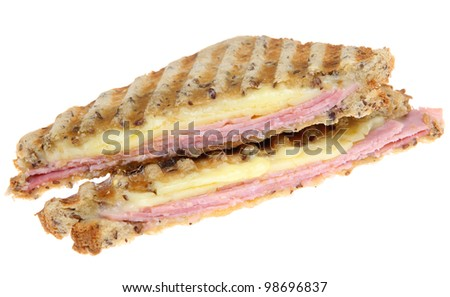 Toasted sandwich with ham and cheese. - stock photo