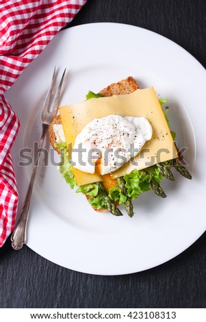 Toasted sandwich with salad leaves, asparagus, cheese and poached egg, closeup, top view - stock photo