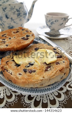 Toasted Teacakes a traditional treat with afternoon tea - stock photo