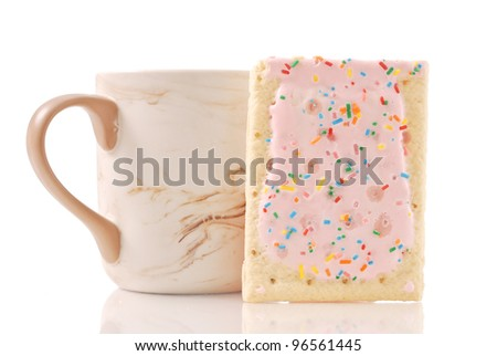 Toaster Pastry with Cup - stock photo