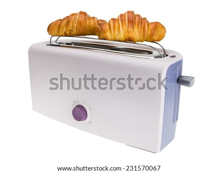 Toaster prepares croissants. Isolated on white background. - stock photo