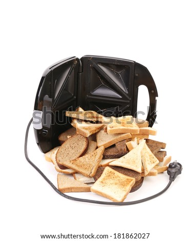 Toaster with bread slices. Isolated on a white background. - stock photo