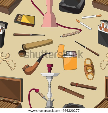 Tobacco And Smoking pattern. Hand Drawn Cigarettes, Cigars, Hookah, Matches, Leaves, Ceremonial Pipe And Accessories - stock photo