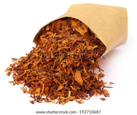 Tobacco for making cigarette over white background - stock photo