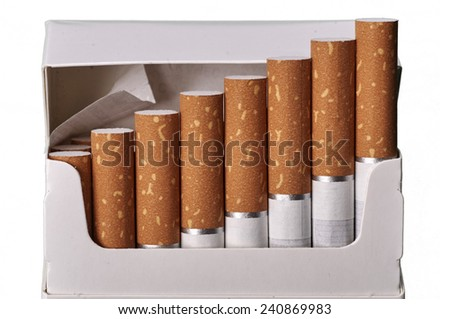 Tobacco in cigarettes with brown filter in a pack close up isolated - stock photo