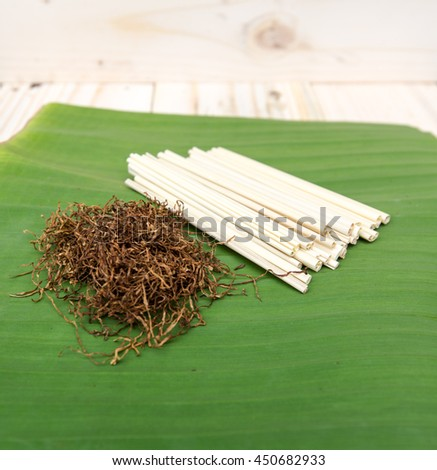 Tobacco leaves were dried, Handmade in Thailand - stock photo