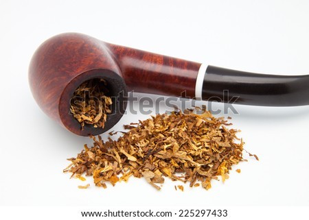 tobacco pipe on a white background - stock photo
