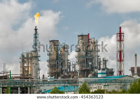 Tobolsk, Russia - July 15. 2016: Sibur company. Petrochemical Industrial Complex. Oil refinery building industry - stock photo