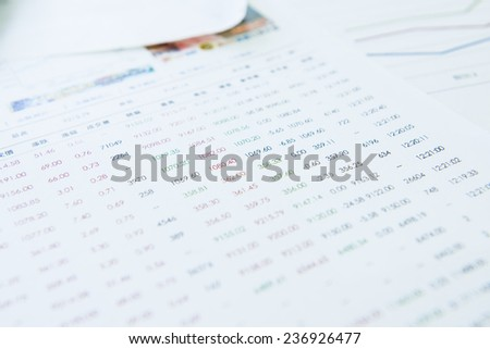 Today, a report on the index - stock photo