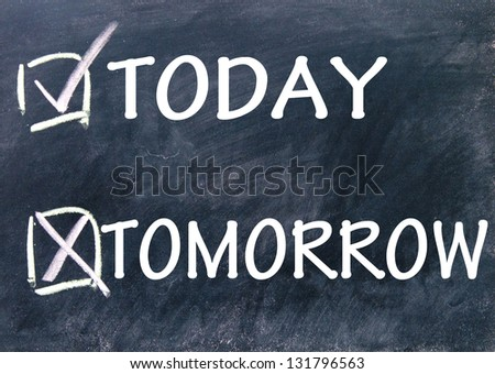 today and tomorrow choice - stock photo