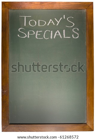 Today's Spacials copy space concept on blackboard - stock photo