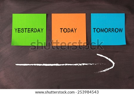 Today, yesterday, and tomorrow words on notes pasted on blackboard with a big arrow. - stock photo