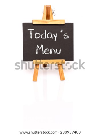 Todays Menu. Blackboard with text and easel. Photo on white background with shadow and reflection. - stock photo