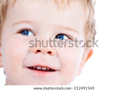 Toddler blond and blue eyes boy child with various facial expressions isolated on white - stock photo