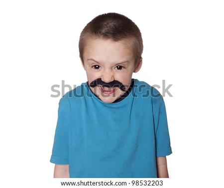 Toddler boy with exaggerated eyes and a silly fake mustache - stock photo