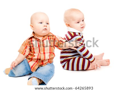 Toddler friends, isolated, over white - stock photo