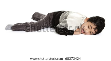 Toddler Throwing a Tantrum, Isolated, White - stock photo