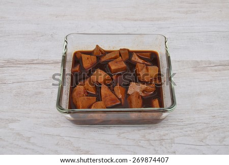 Tofu in marinade - stock photo