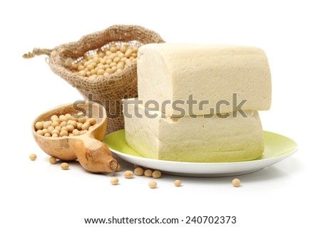 tofu on white background  - stock photo